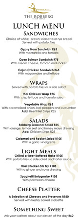 Robberg Lunch Menu